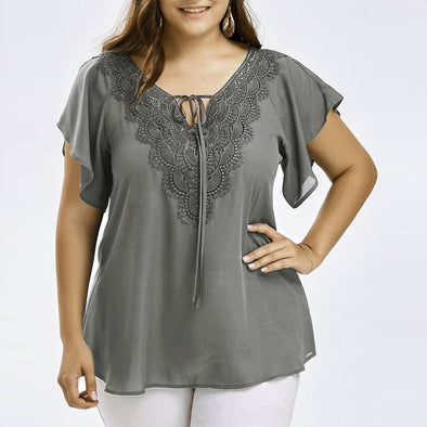 Womens Fashion Curve Appeal Lace T-Shirt Blouse Bat Short Sleeve Tops - Attract Wear