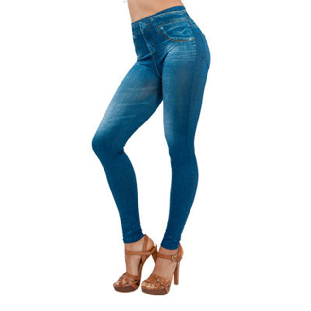 Spring Autumn Women Leggings Jeans With Pocket High Waist Slim Fitness Plus Size S-3XL -MX8 - Attract Wear