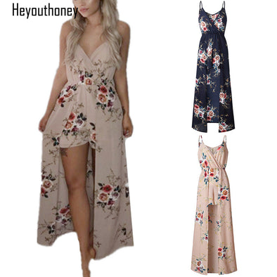 6 Color Floral Print V Neck Spaghetti Straps Sleeveless Jumpsuit Rompers Summer - Attract Wear