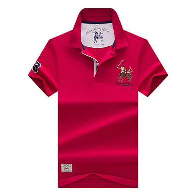 Embroidery Turn-down Collar Polo Shirt - Attract Wear