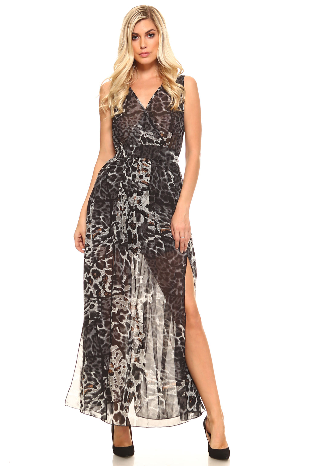Women's Crossover Animal Print Side Slip Maxi Dress - Attract Wear