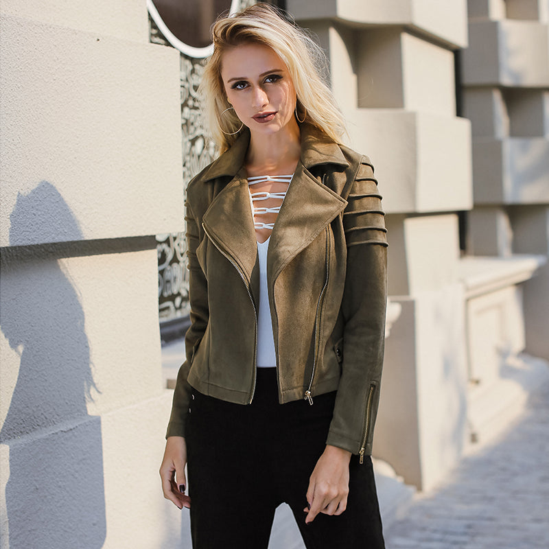Casual Suede Leather Women Jacket - Attract Wear