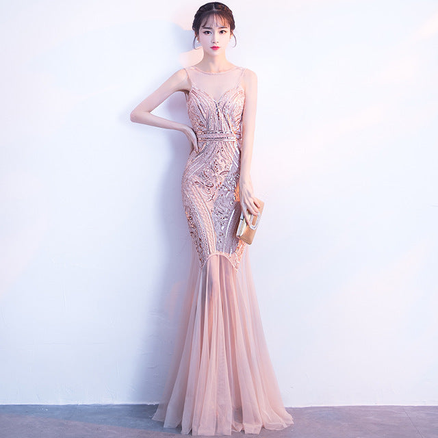 Sequins Beading Evening Dress - Attract Wear