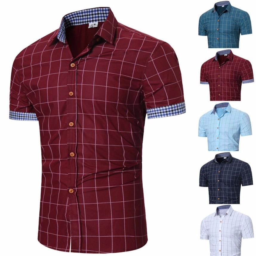 2018 Men Fashion Casual Men's Plaid Top Fit Slim - Attract Wear