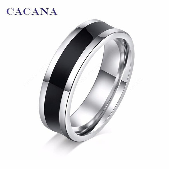 Titanium Stainless Steel Rings For Women Black Polishing Cool Black (F+S) - Attract Wear