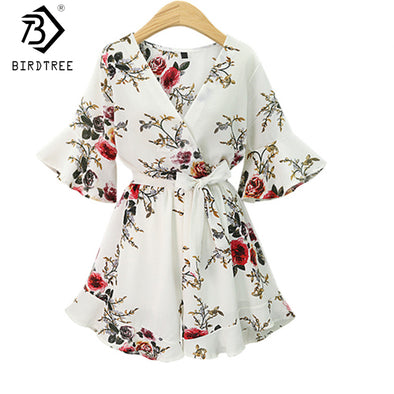 2018 Black Short Rompers Printing Flower V Neck Jumpsuit plus size 5XL Tie Waist - Attract Wear