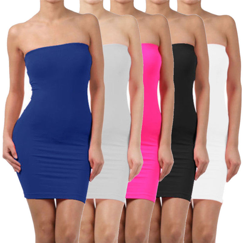 Women's Summer Sleeveless Backless Sexy Slim Dress Elastic Tight Body-con - Attract Wear