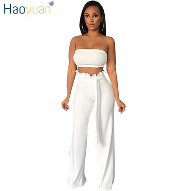 HAOYUAN Two Piece Set Summer Outfits Sexy Off Shoulder Strapless Crop Tops+Wide Leg Pants Suit - Attract Wear