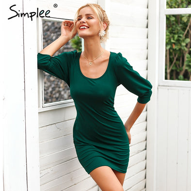 Simplee Elegant U neck bodycon dress - Attract Wear