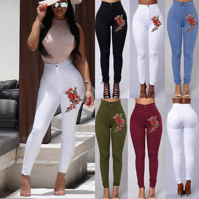 2018 ITFABS Fashion Women High Waist Embroidered Skinny Stretch Pencil Long Slim Casual Leggings Jeans - Attract Wear