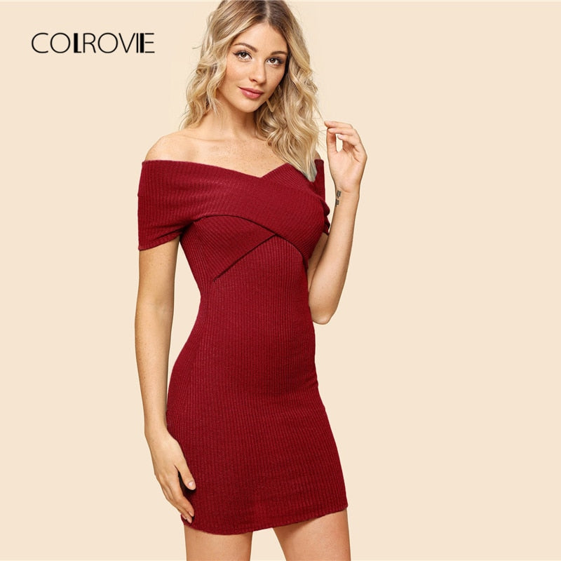 COLROVIE Burgundy Sexy Off The Shoulder Criss Cross Wrap Elegant Bodycon Dress - Attract Wear
