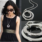 Crystal Rhinestone Silver Plated Long Chain Pendant Necklace - Attract Wear