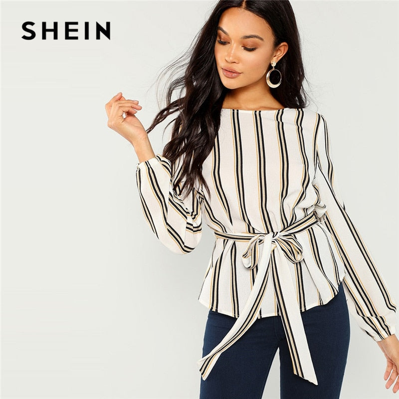 Elegant Striped Print Scoop Neck Long Sleeve Blouse - Attract Wear