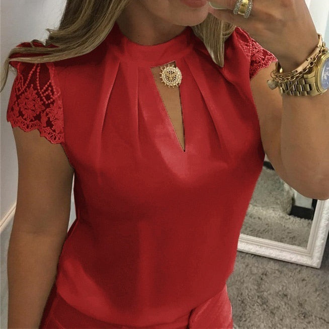 Women Sexy Chiffon Short Sleeve Hollow Splice Lace Blouses Plus Size - Attract Wear