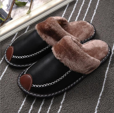High Quality Leather Winter Plush Flat Heel Anti Skid Floor Slippers - Attract Wear