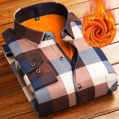 Mens Winter Thick Flannel Long Sleeve Plaid Dress Shirts 4xl - Attract Wear