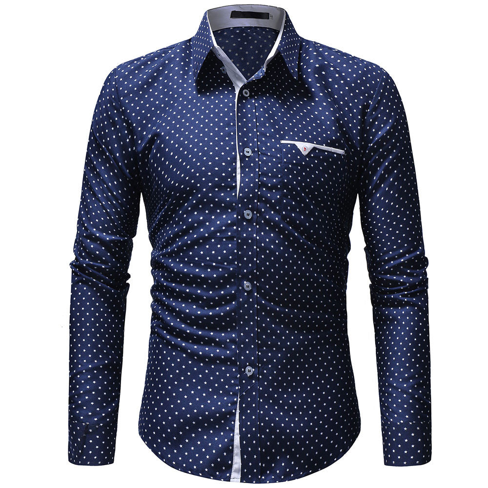 Men's Autumn Casual Polka Dot slim long-sleeved Dress Shirt
