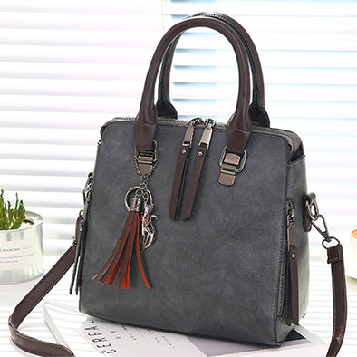 Vintage PU Leather Ladies Tote Tassel HandBags - Attract Wear
