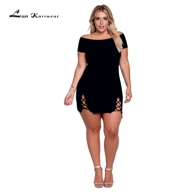 Above Knee Mini Bandage Off the Shoulder Plus Size Summer Dress - Attract Wear