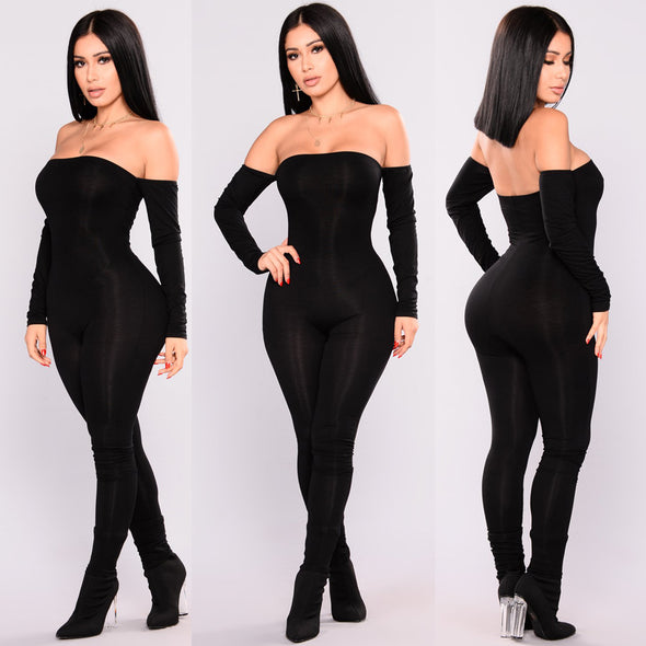 Off Shoulder Long Sleeve Jumpsuit - Attract Wear