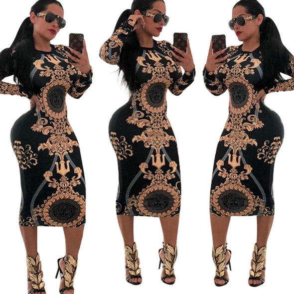 Night Club Vintage Long Sleeve Print Party Dress - Attract Wear