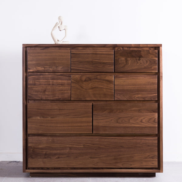 Luomu Solid Walnut Chest of 9-Drawer 胡桃實木坐地9格儲物櫃