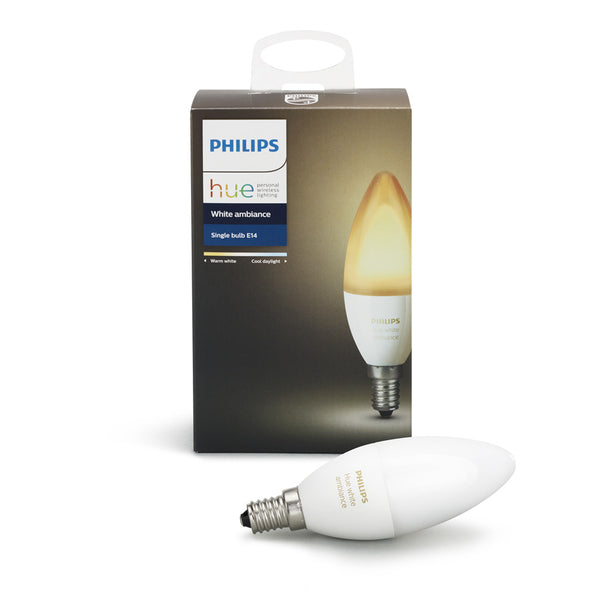 香港送貨|Delivery to HK | Philips Hue White Ambiance 藍牙兼容 暖黃日光智能燈泡 E14 WA 5.2W | Philips Hue |Homie Living Mall 香港家居靈感購物