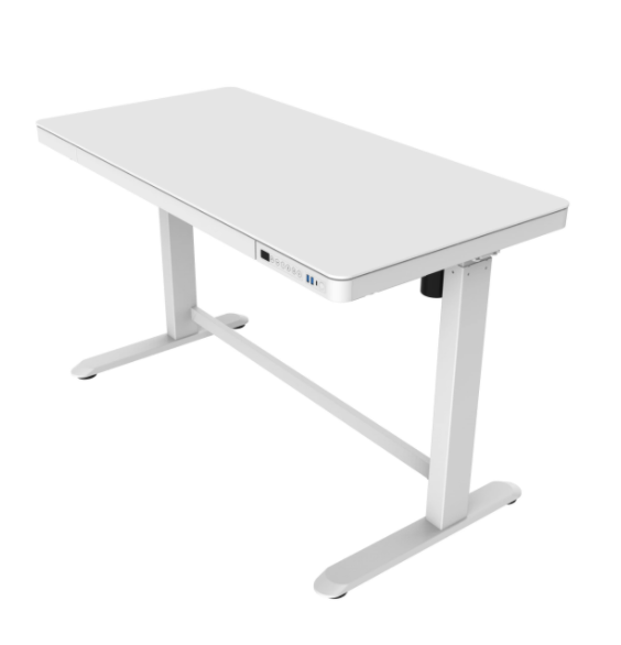 香港送貨|Delivery to HK | Home Made Combine All-in-One Standing Desk White Tempered Glass 白色強化玻璃桌面升降書桌 (白色桌框) | Home Made |Homie Living Mall 香港家居靈感購物