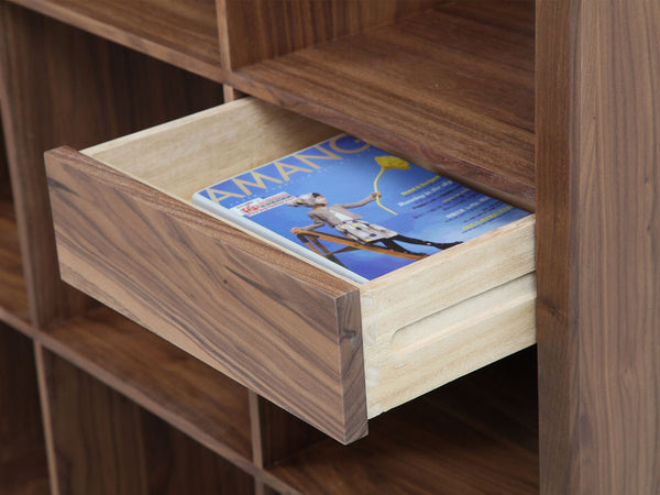 Luomu Walnut 2x4 Square Shelf with Drawers 胡桃木置物書架連抽屜