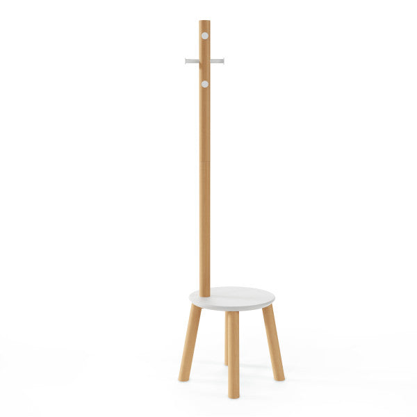 香港送貨|Delivery to HK | Umbra PILLAR STOOL/COATRACK 衣帽架+凳, 自然木色 | Umbra |Homie Living Mall 香港家居靈感購物