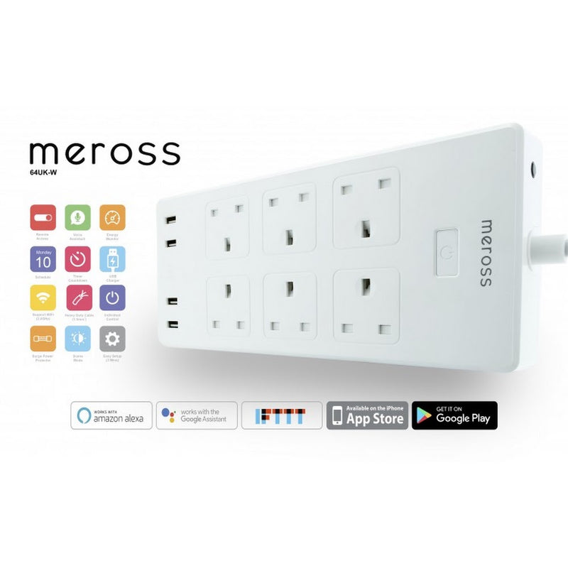 香港送貨|Delivery to HK | Meross WiFi 智能定時遙控13A拖板 (4插座/6插座) | Businesspro Service Limited |Homie Living Mall 香港家居靈感購物