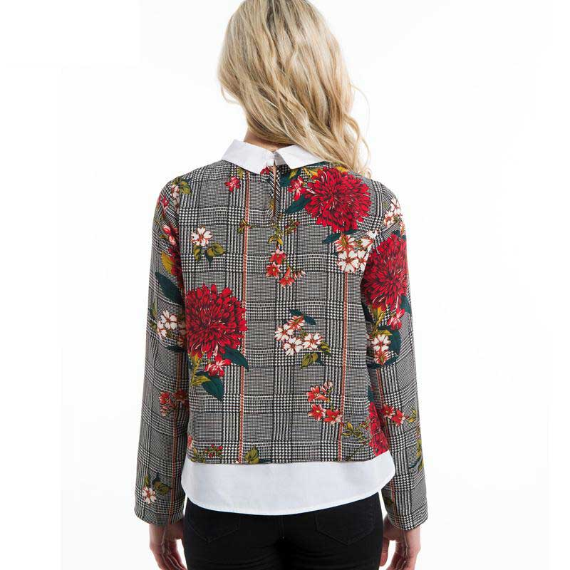 Contrast Collar Mixed Print Floral Shirt