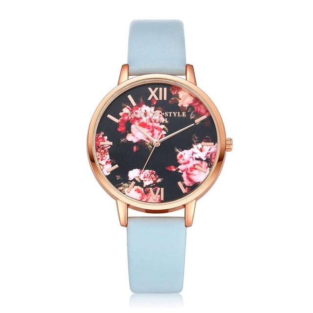 High Quality Fashion Leather Strap Rose Gold Watch