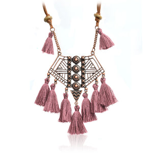 Ethnic Geometric Hollow Bohemian Pendant Necklace