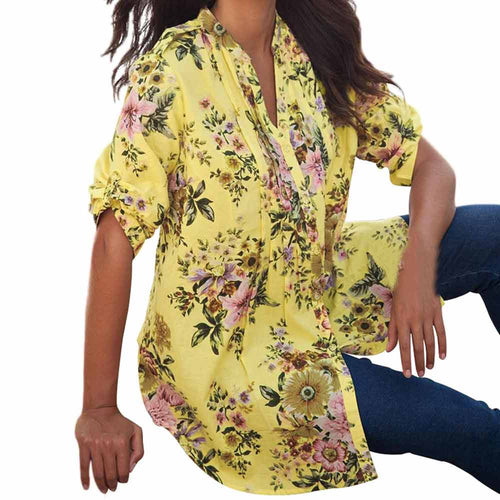 V-Neck Floral Tunic Top