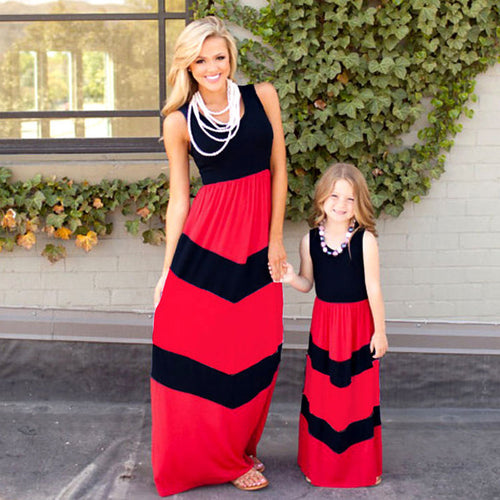 Mother and Daughter Strip-stitched Casual Maxi Dress
