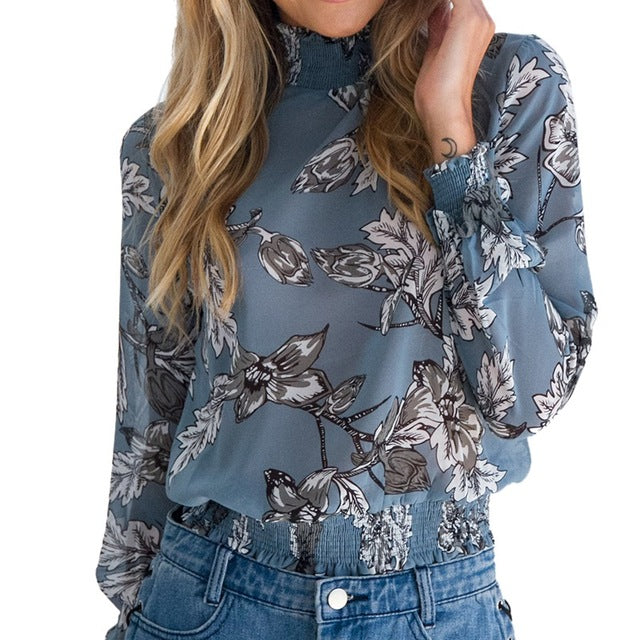 Chiffon Blouse With Vintage Floral Print