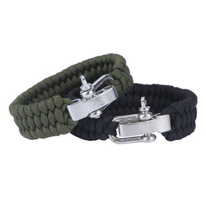 Survival Paracord Bracelet With Stainless Steel Bow Shackle