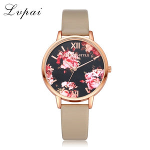 Leather Band Rose Gold Watch with Floral Pattern