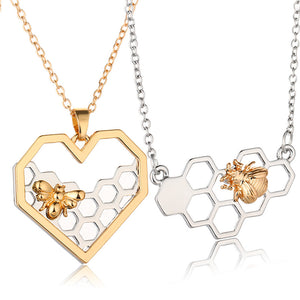 Honeycomb And Bee Charm Heart Necklace