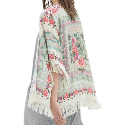 Fashion Kimono Shrug With Boho Print And Tassel