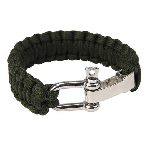 Outdoor Survival Bracelet For Camping With Steel Shackle Buckle
