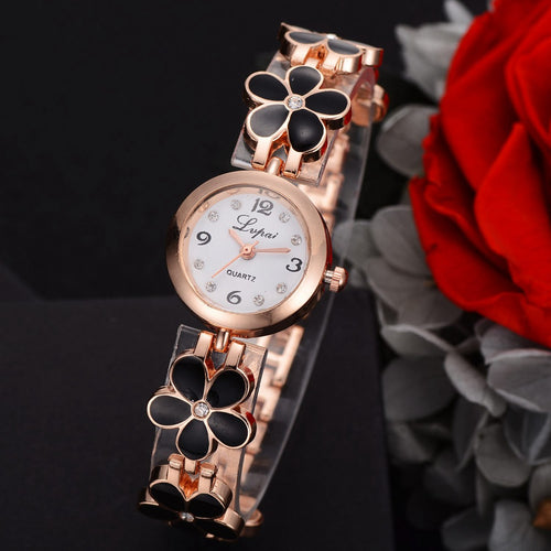 Crystal Luxury Watch With Floral Strap