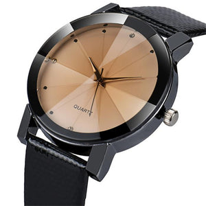 Luxury Unisex Quartz Watch With Military Stainless Steel Dial And Leather Band