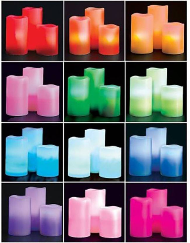 The Real Wax Color Changing Flameless LED Candles (Pack of 3)
