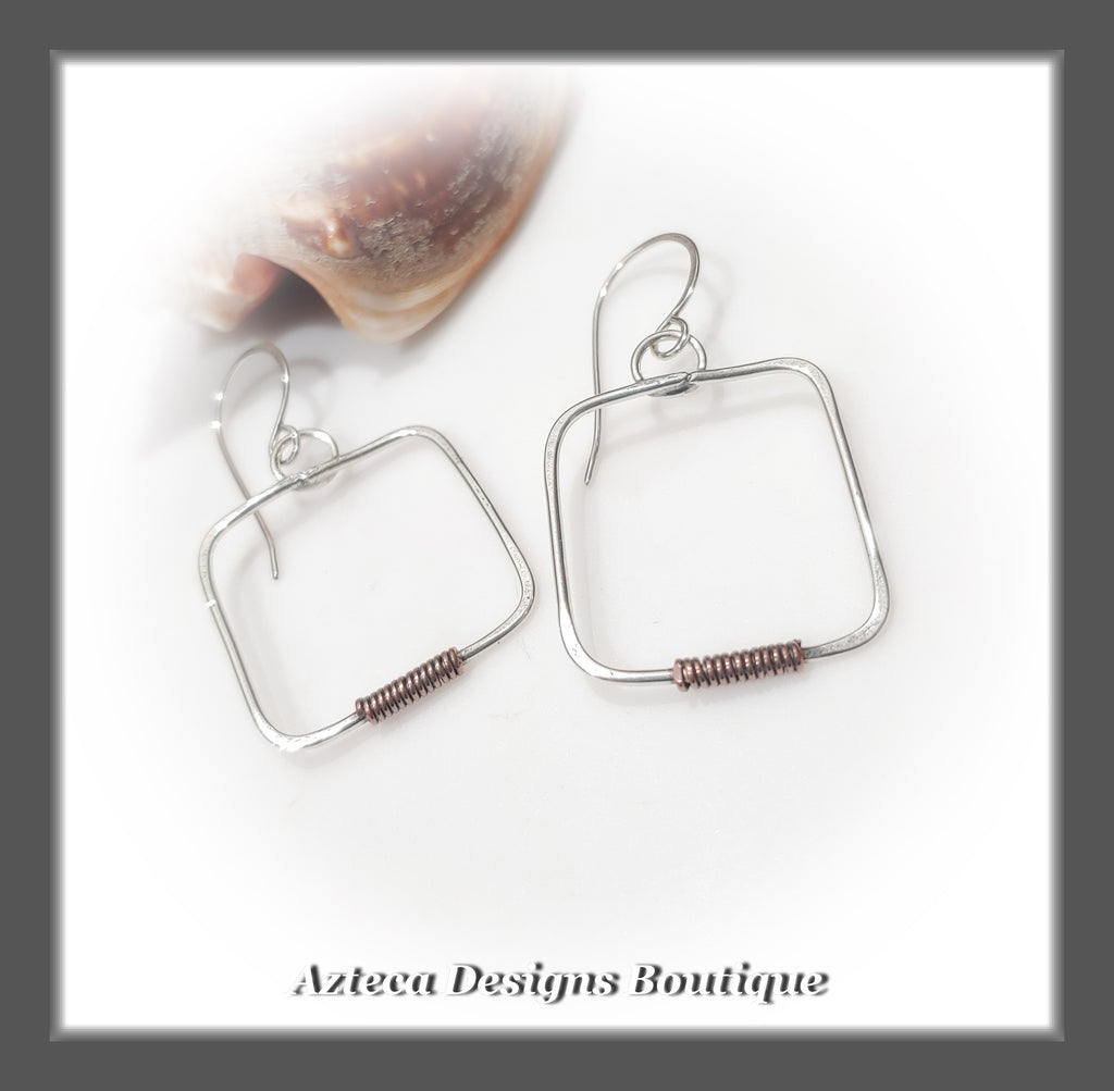 Argentium Silver+Copper Wrap+Petite Square Earrings