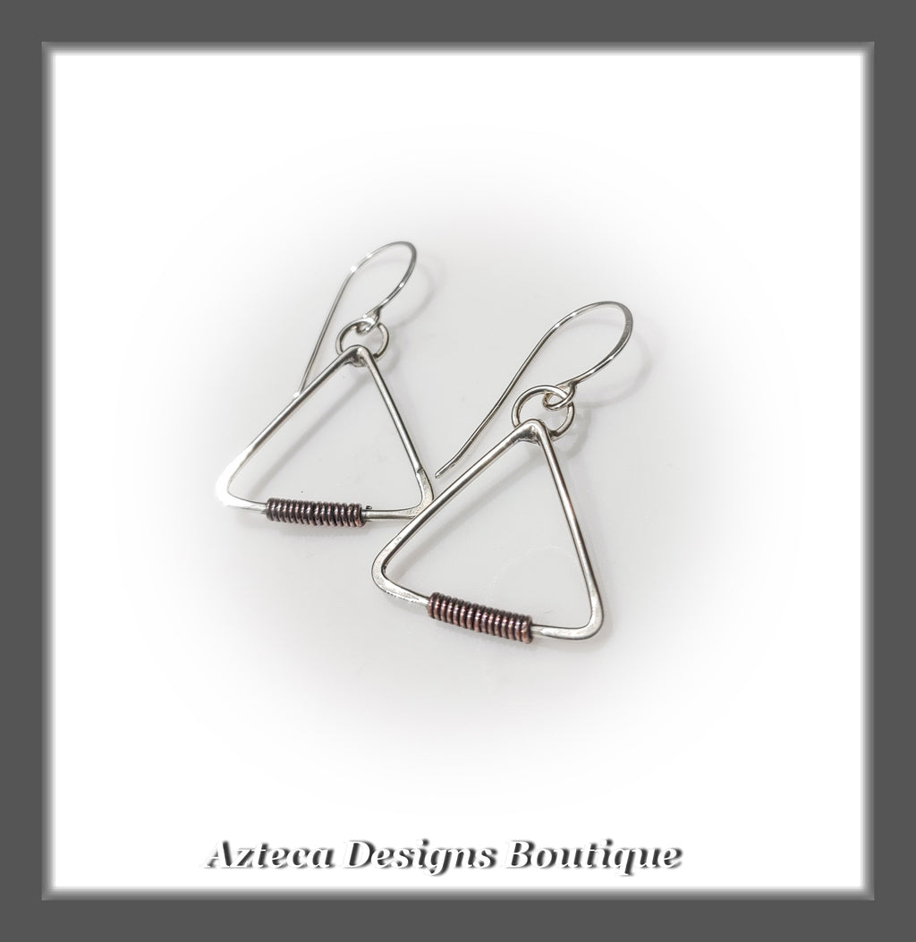 Argentium Silver+Copper Wrap+Petite Triangle Earrings