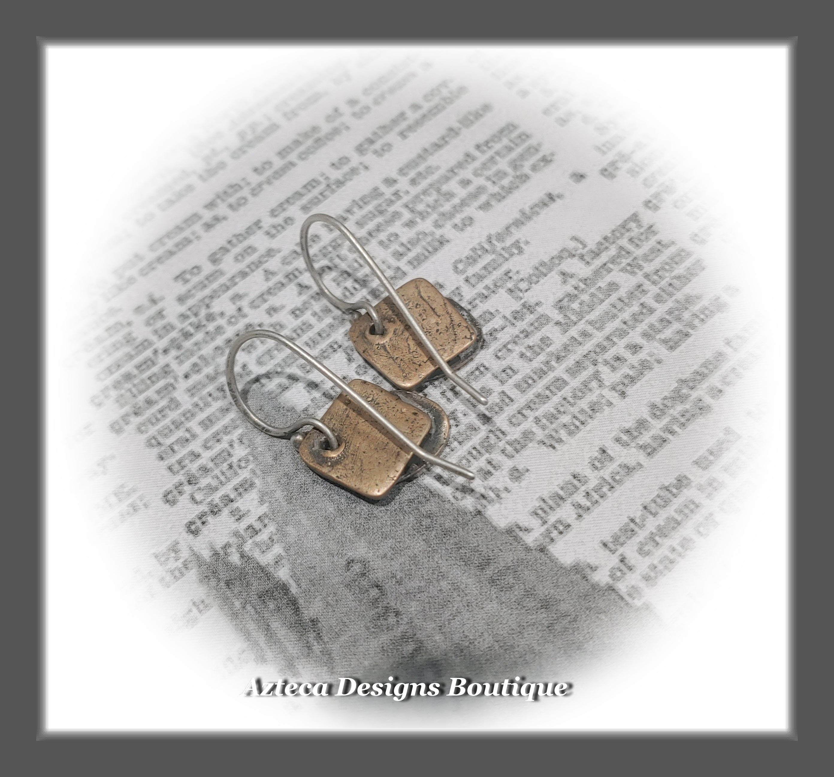 Heart Sketch~Bronze+Argentium Silver+Hand Crafted Heart Earrings
