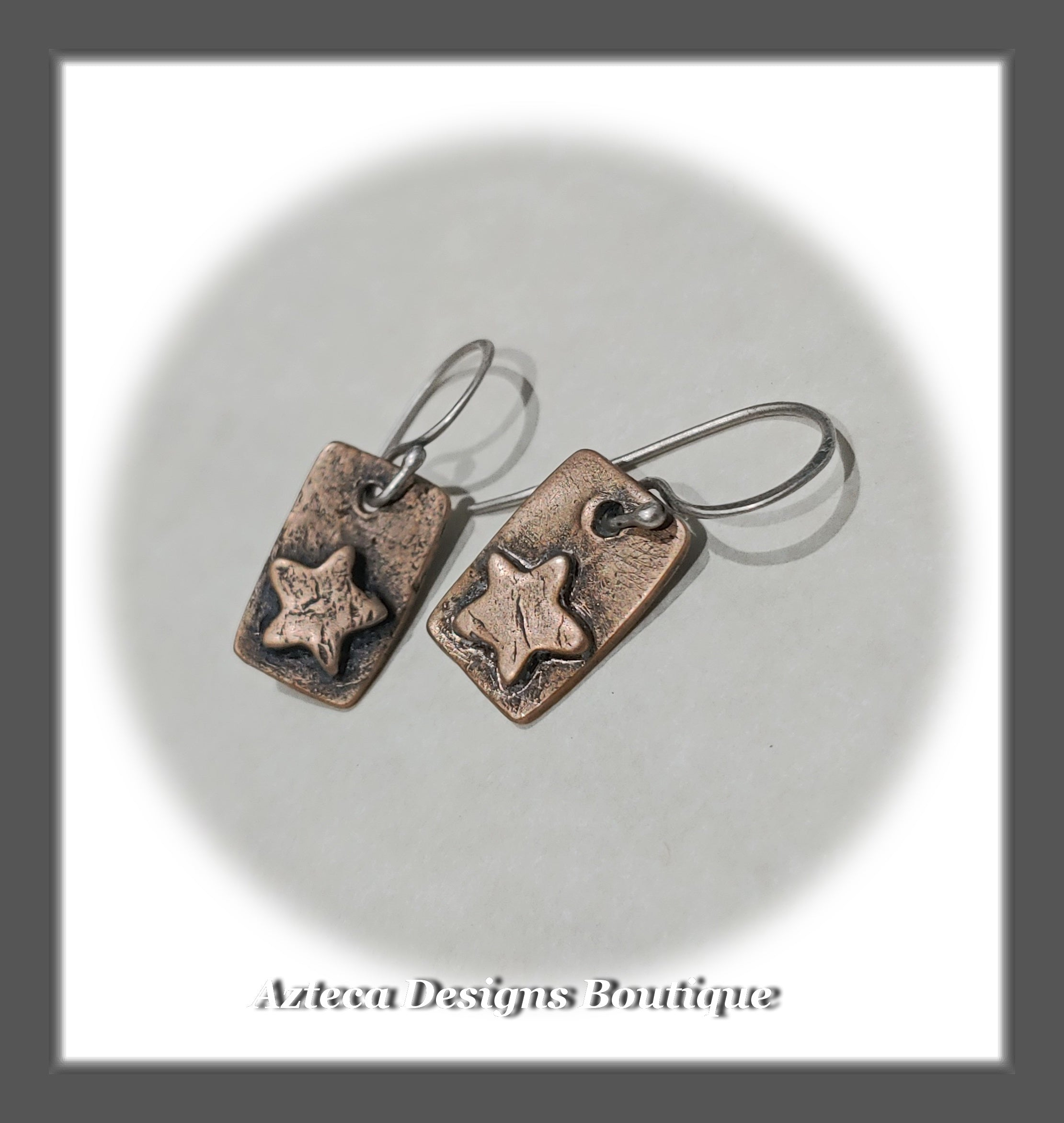 Star Sketch~Bronze+Argentium Silver+Hand Crafted Star Earrings