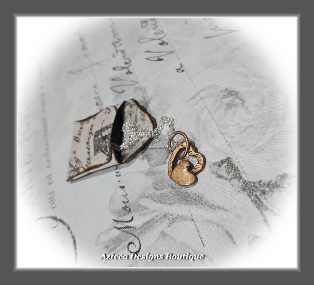 Me & You Hearts~Bronze+Sterling Silver Chain+Necklace